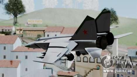 MIG-25 Foxbat pour GTA San Andreas laissé vue
