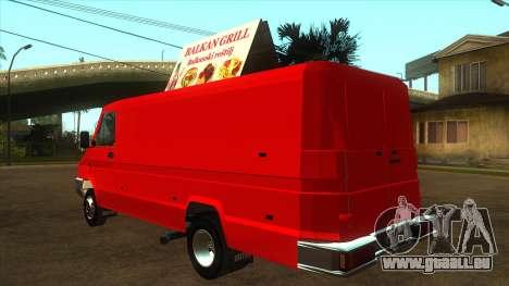 Zastava Daily 35B Special pour GTA San Andreas sur la vue arrière gauche