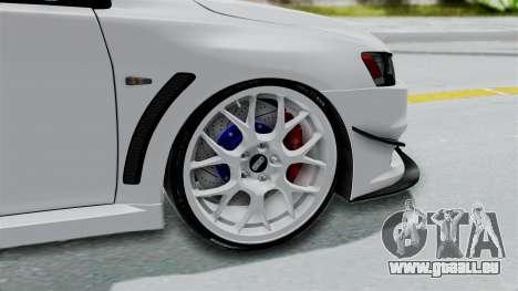Mitsubishi Lancer Evolution X GSR Full Tunable pour GTA San Andreas sur la vue arrière gauche