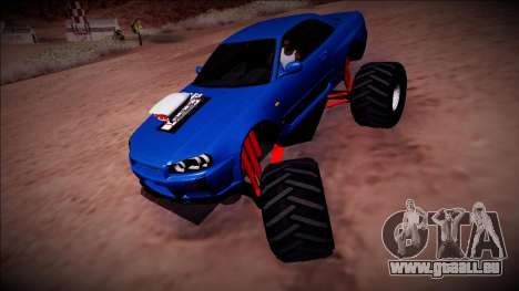 Nissan Skyline R34 Monster Truck für GTA San Andreas Rückansicht