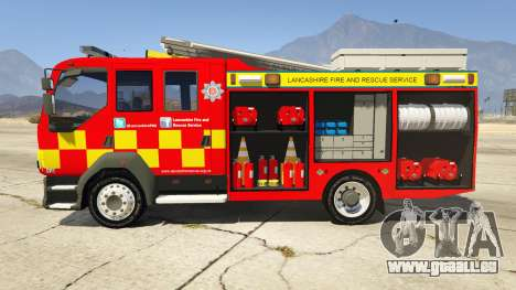 GTA 5 DAF Lancashire Fire & Rescue Fire Appliance linke Seitenansicht