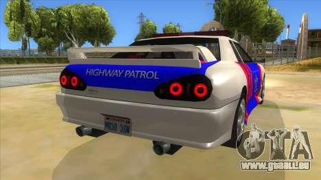 Elegy NR32 Police Edition White Highway pour GTA San Andreas vue de droite