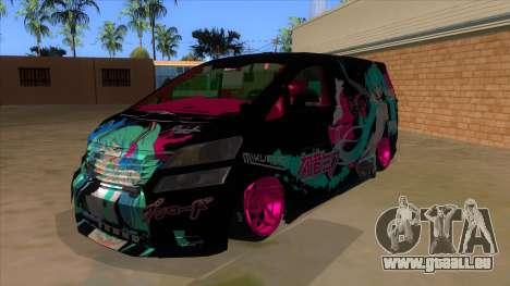Toyota Vellfire Miku Pocky Exhaust v2 FIX pour GTA San Andreas