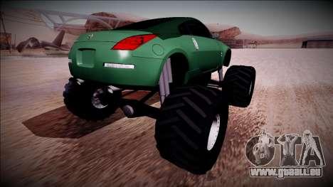 Nissan 350Z Monster Truck pour GTA San Andreas laissé vue