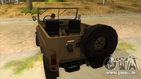 UAZ-469 Desert pour GTA San Andreas sur la vue arrière gauche