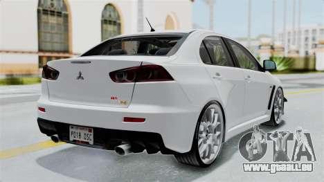 Mitsubishi Lancer Evolution X GSR Full Tunable pour GTA San Andreas laissé vue