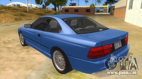 BMW 850i E31 pour GTA San Andreas sur la vue arrière gauche