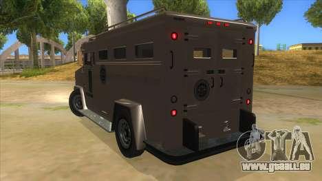 GTA 5 Brute Riot Police pour GTA San Andreas sur la vue arrière gauche