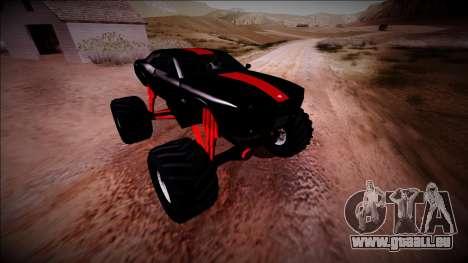 GTA 5 Bravado Gauntlet Monster Truck pour GTA San Andreas vue de dessous