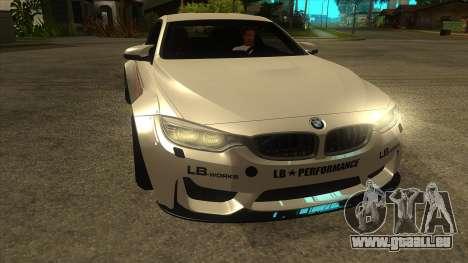 BMW M4 Liberty Walk Performance pour GTA San Andreas vue arrière