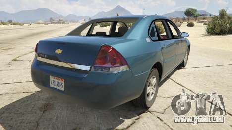 GTA 5 Chevrolet Impala arrière vue latérale gauche