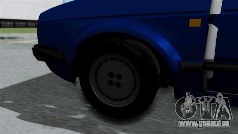 Volkswagen Golf Mk2 Milicija pour GTA San Andreas sur la vue arrière gauche