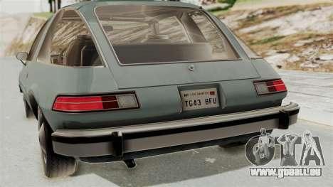 AMC Pacer 1978 IVF pour GTA San Andreas vue intérieure