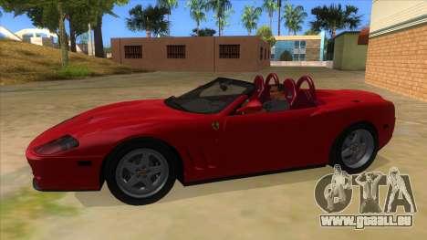 Ferrari 550 Barchetta Pinifarina US Specs 2001 pour GTA San Andreas laissé vue