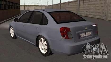 Chevrolet Lacetti Sedan pour GTA San Andreas laissé vue