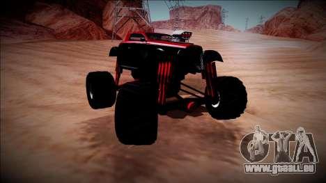 GTA 5 Hotknife Monster Truck pour GTA San Andreas vue intérieure