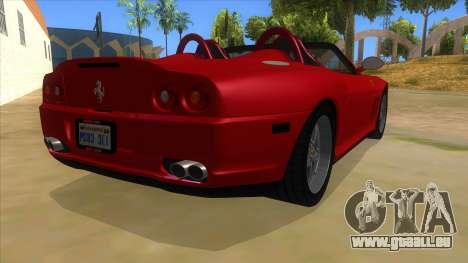 Ferrari 550 Barchetta Pinifarina US Specs 2001 pour GTA San Andreas vue de droite