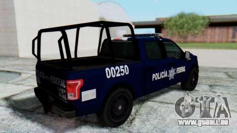 Ford F-150 2015 Policia Federal pour GTA San Andreas sur la vue arrière gauche