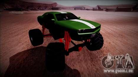 GTA 5 Bravado Gauntlet Monster Truck pour GTA San Andreas vue intérieure