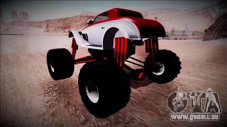 GTA 5 Hotknife Monster Truck für GTA San Andreas zurück linke Ansicht