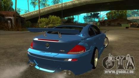 BMW M6 Full Tuning pour GTA San Andreas vue de droite