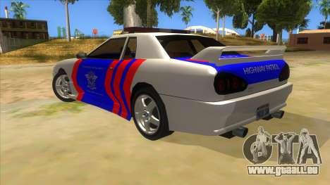 Elegy NR32 Police Edition White Highway pour GTA San Andreas sur la vue arrière gauche