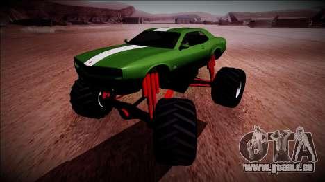GTA 5 Bravado Gauntlet Monster Truck pour GTA San Andreas vue arrière