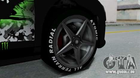 GTA 5 Obey 9F Monster für GTA San Andreas zurück linke Ansicht