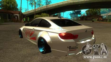 BMW M4 Liberty Walk Performance pour GTA San Andreas sur la vue arrière gauche