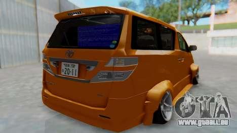 Toyota Vellfire S Class pour GTA San Andreas laissé vue