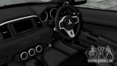 Mitsubishi Lancer Evolution X GSR Full Tunable pour GTA San Andreas vue de droite