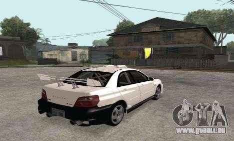 Subaru Impreza WRX STi Tunable pour GTA San Andreas vue intérieure