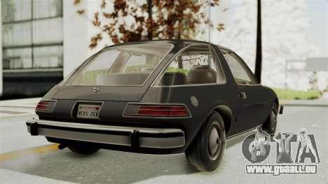 AMC Pacer 1978 pour GTA San Andreas laissé vue