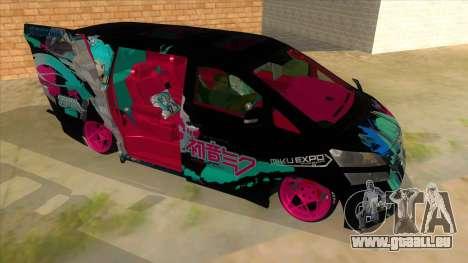 Toyota Vellfire Miku Pocky Exhaust v2 FIX pour GTA San Andreas vue arrière