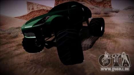 Nissan 350Z Monster Truck pour GTA San Andreas sur la vue arrière gauche