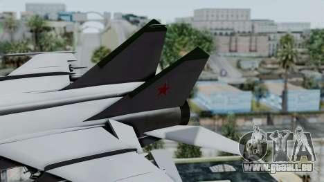 MIG-25 Foxbat pour GTA San Andreas sur la vue arrière gauche