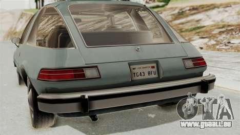 AMC Pacer 1978 IVF pour GTA San Andreas vue arrière