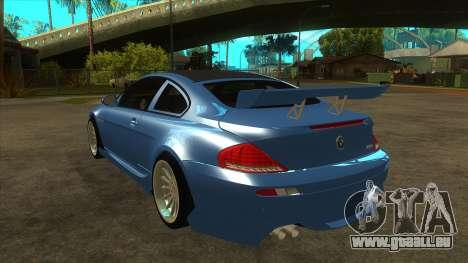 BMW M6 Full Tuning pour GTA San Andreas sur la vue arrière gauche