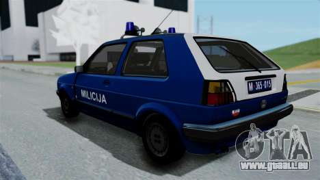 Volkswagen Golf Mk2 Milicija pour GTA San Andreas laissé vue