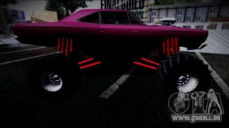 1969 Plymouth Road Runner Monster Truck pour GTA San Andreas sur la vue arrière gauche