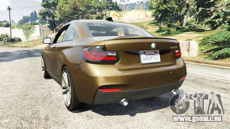 GTA 5 BMW M235i Coupe arrière vue latérale gauche