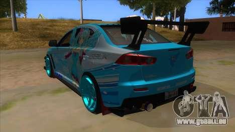 Mitsubishi Lancer Evolution X Koi-chan Itasha pour GTA San Andreas sur la vue arrière gauche