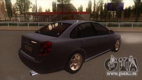 Chevrolet Lacetti Sedan pour GTA San Andreas vue de droite