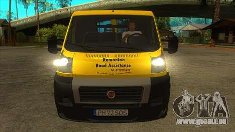 Fiat Ducato Road Asisstance pour GTA San Andreas vue intérieure
