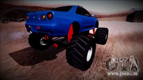 Nissan Skyline R34 Monster Truck für GTA San Andreas rechten Ansicht