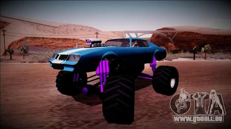GTA 5 Imponte Phoenix Monster Truck pour GTA San Andreas sur la vue arrière gauche