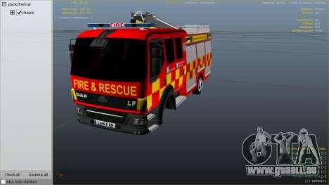 GTA 5 DAF Lancashire Fire & Rescue Fire Appliance rechte Seitenansicht