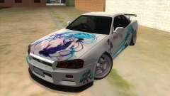 Nissan Skyline GT-R R34 Hatsune Miku pour GTA San Andreas