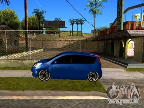 Nissan Note KURMIN StreetRacer pour GTA San Andreas sur la vue arrière gauche