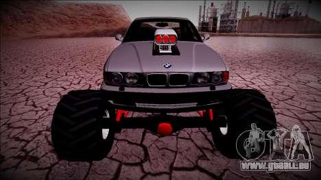 BMW M5 E34 Monster Truck für GTA San Andreas Rückansicht